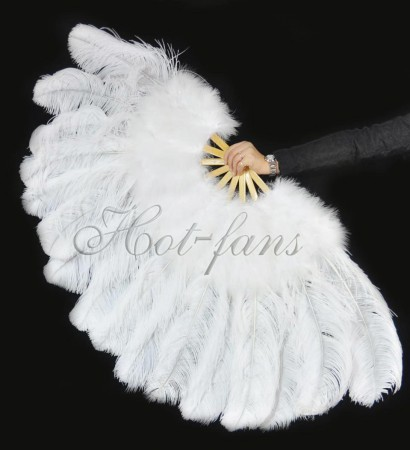 White Ostrich & Marabou Feathers fan  with Travel leather Bag