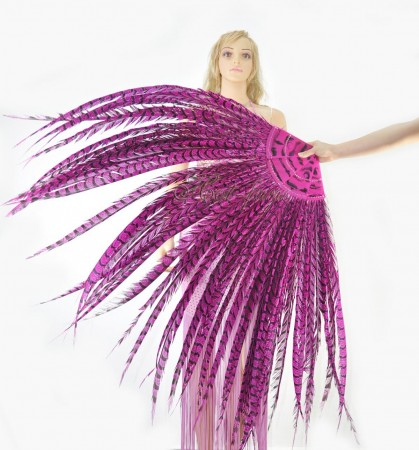 "Hot pink Luxury 71"" Tall huge Pheasant Feather Fan  Burlesque Perform Friend"