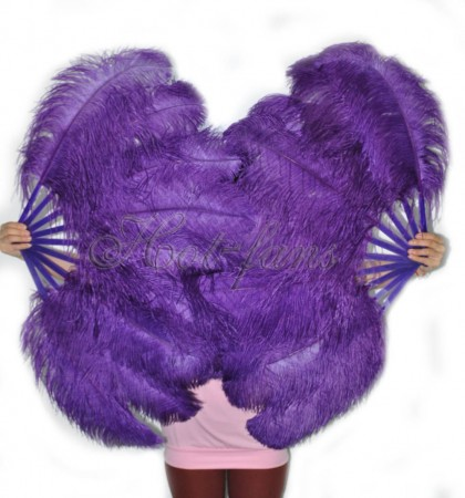 "A pair dark purple Single layer Ostrich Feather fan 24""x 41"" with leather travel Bag"