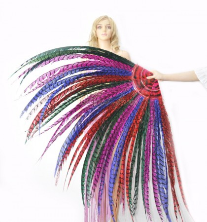 "mix color Luxury 71"" Tall huge Pheasant Feather Fan  Burlesque Perform Friend"