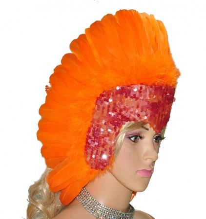 orange feather sequins crown las vegas dancer showgirl headgear headdress