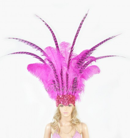hotpink Ostrich & Pheasant Feathers Sequins crown Open Face Headdress Show girl