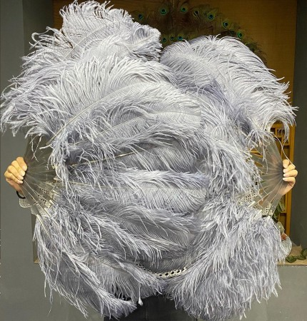 """A pair dark grey Single layer Ostrich Feather fan 24""""x 41"""" with leather travel Bag"""