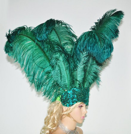 forest green Sharp Angle Ostrich Feathers Open Face  Headgear Headdress