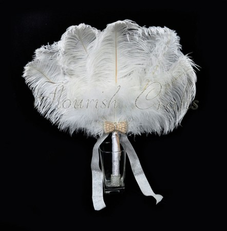 White Bridal Bouquet Ostrich Feather Fan Bridesmaid wedding favors