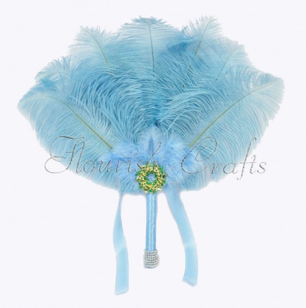 Baby Blue Bridal Bouquet Ostrich Feather Fan Bridesmaid wedding favors