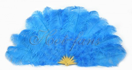 "Deep sky blue Ostrich & Marabou Feathers fan Burlesque dance with carrying case 27""x 53"""