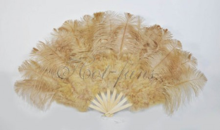 "wheat Marabou Ostrich Feather fan primary Burlesque Dance 21""x38"" with Travel leather Bag"