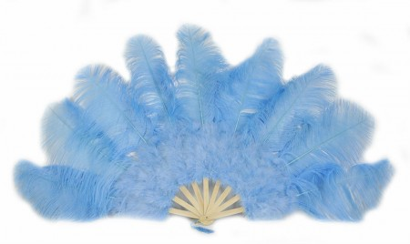 "sky blue Ostrich & Marabou Feathers fan Burlesque dance with Travel leather Bag 24""x43"""