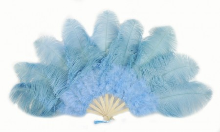"baby blue Ostrich & Marabou Feathers fan Burlesque dance with Travel leather Bag 24""x43"""