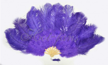 "violet Ostrich & Marabou Feathers fan Burlesque dance with Travel leather Bag 24""x43"""