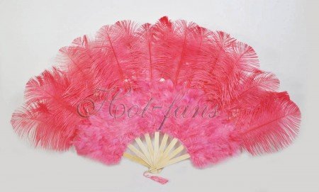 "Coral red Marabou Ostrich Feather fan primary Burlesque Dance 21""x38"" with Travel leather Bag"