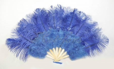 "navy Marabou Ostrich Feather fan primary Burlesque Dance 21""x38"" with Travel leather Bag"