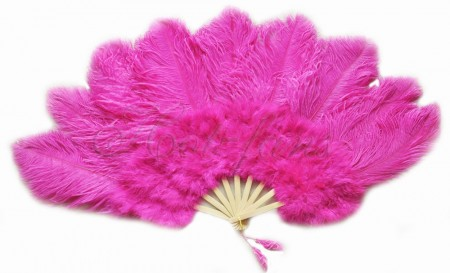 """hot pink Ostrich & Marabou Feathers fan Burlesque dance with carrying case 24""""x 43"""""""