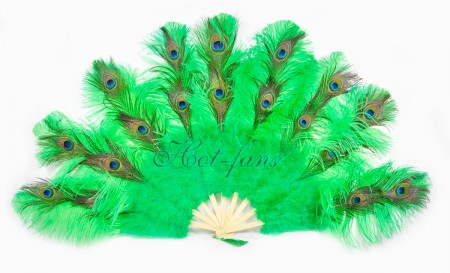 "emerald green Peacock Marabou Ostrich Feathers Fan 24""x 43"" wedding & Burlesque fan"