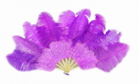 "lavender Ostrich & Marabou Feathers fan Burlesque dance with Travel leather Bag 24""x43"""
