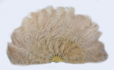 "beige camel Ostrich & Marabou Feathers fan  27""x 53"" with Travel leather Bag"