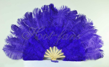 "violet Marabou Ostrich Feather fan primary Burlesque Dance 21""x38"" with Travel leather Bag"