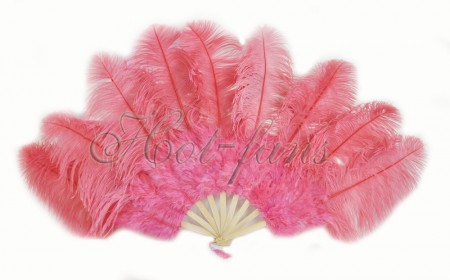 "Coral red Ostrich & Marabou Feathers fan Burlesque dance with Travel leather Bag 24""x43"""