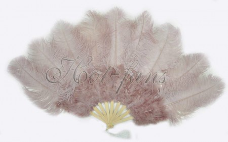 "Beige Wood Ostrich & Marabou Feathers fan Burlesque dance with Travel leather Bag 24""x43"""