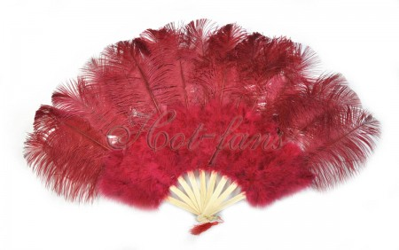 "Burgundy Marabou Ostrich Feather fan primary Burlesque Dance 21""x38"" with gift box"