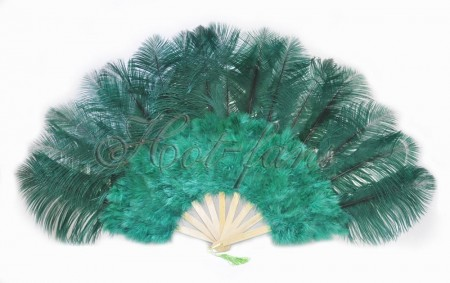 "forest green Marabou Ostrich Feather fan primary Burlesque Dance 21""x38"" with Travel leather Bag"