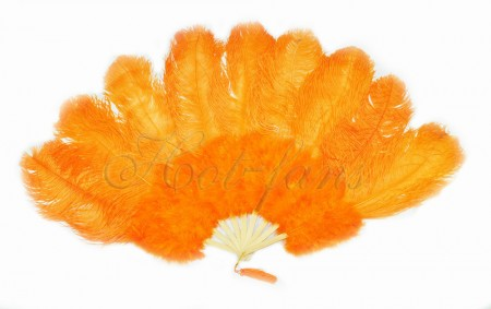 "Orange Ostrich & Marabou Feathers fan Burlesque dance with Travel leather Bag 24""x43"""