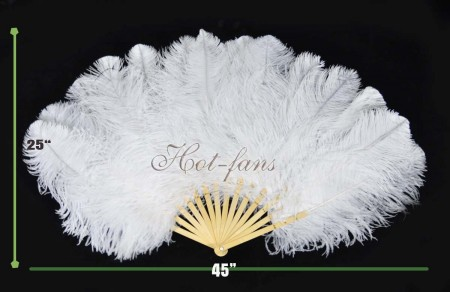 "White single layer Ostrich Feather Fan with 14 bamboo staves 25""x 45"" with gift box Burlesque friend"