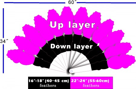 "Custom color & placement options XL 2 layers Ostrich Feather Fan 34""x 60"""