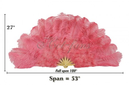 "Coral red Ostrich & Marabou Feathers fan 27""x 53"" withTravel leather Bag"