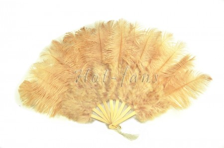 "Beige camel Marabou Ostrich Feather fan primary Burlesque Dance 21""x38"" with Travel leather Bag"