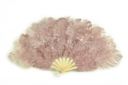 "Beige wood Marabou Ostrich Feather fan primary Burlesque Dance 21""x38"" with gift box"