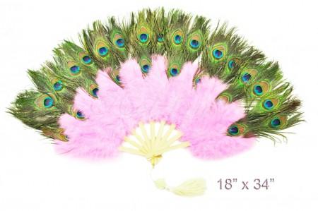 pink Double faced Peacock Eye Marabou Feather Fan