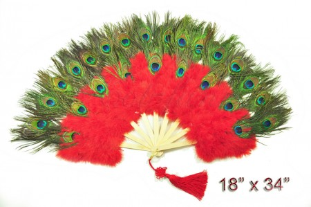 red Double faced Peacock Eye Marabou Feather Fan