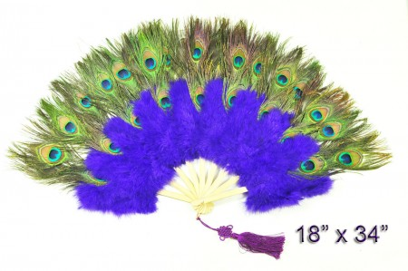 violet Double faced Peacock Eye Marabou Feather Fan