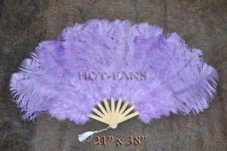 "Aqua VIOLET Marabou Ostrich Feather fan primary Burlesque Dance 21""x38"" with gift box"