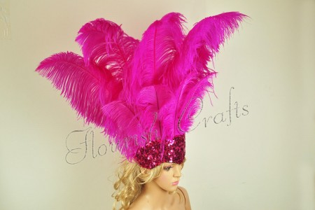 hot pink Sharp Angle Ostrich Feathers Open Face  Headgear Headdress