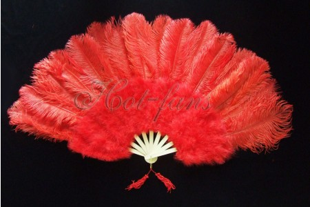 "Red Marabou Ostrich Feather fan primary Burlesque Dance 21""x38"" with Travel leather Bag"