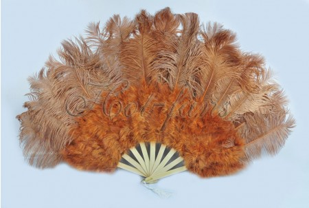 "Topaz Marabou Ostrich Feather fan primary Burlesque Dance 21""x38"" with Travel leather Bag"