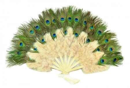 Beige camel Double faced Peacock Eye Marabou Feather Fan