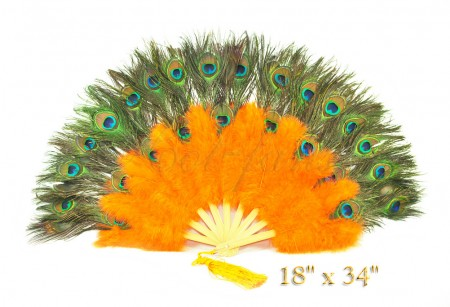 orange Double faced Peacock Eye Marabou Feather Fan