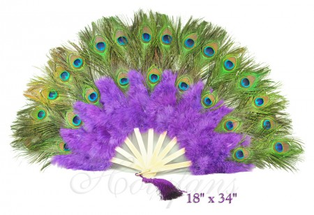purple Double faced Peacock Eye Marabou Feather Fan