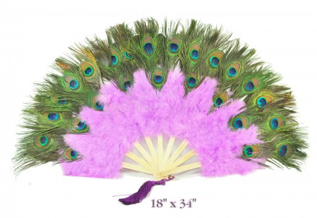 lavender Double faced Peacock Eye Marabou Feather Fan