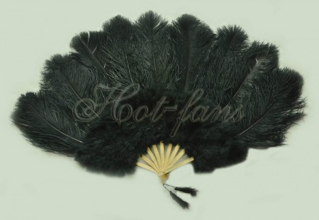 "black Ostrich & Marabou Feathers fan Burlesque dance with Travel leather Bag 24""x43"""