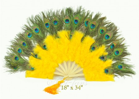 yellow Double faced Peacock Eye Marabou Feather Fan