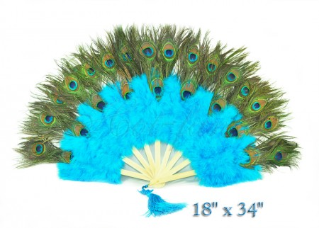 blue Double faced Peacock Eye Marabou Feather Fan
