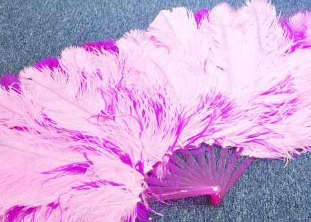 "hotpink & pink Double side Ostrich Feather fan more bushy 48"" with Travel leather Bag"