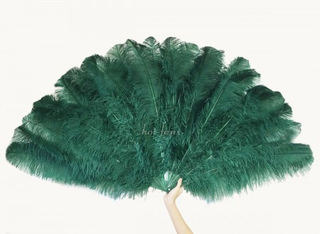 "Burlesque friend Forest green 3 Layers Ostrich Feather Fan 65"" with Travel leather Bag"