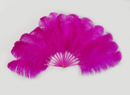 Hotpink single layer Ostrich Feather Fan Full open 180 degree with Travel leather Bag