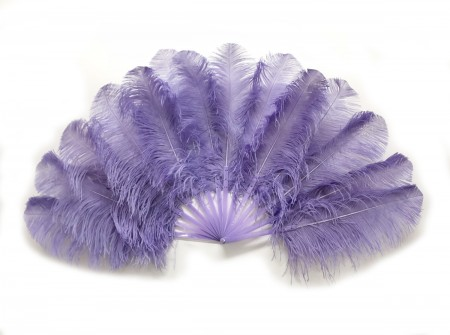 single layer Ostrich Feather Fan Full open 180 degree with Travel leather Bag